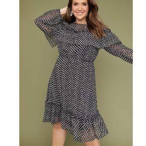 LANE BRYANT Long Sleeve Ruffle Polka Dot Dress